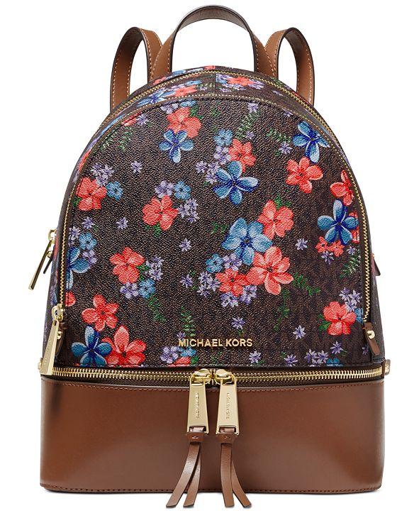 Michael Kors Rhea Signature Floral Zip Backpack