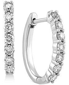 "Lab Created Diamond Small Hoop Earrings (5/8 ct. t.w.) in Sterling Silver, .63"""