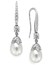 Arabella Bridal Cultured Freshwater Pearl (8mm) and Swarovski Zirconia (1-5/8 ct. t.w.) Leaf Drop Earrings in Sterling Silver