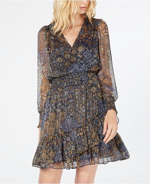 Michael Kors Printed Ruffled Dress, Regular & Petite Sizes