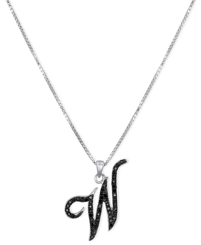 "Macy's Sterling Silver Necklace, Black Diamond ""W"" Initial Pendant (1/4 ct. t.w.)"