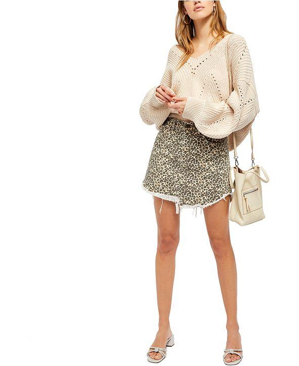 Free People Bailey Printed Denim Mini Skirt