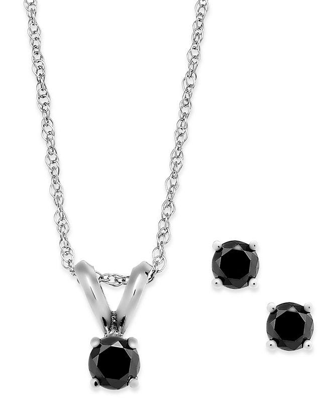 Macy's Black Diamond Jewelry Set in 10k White Gold (1/6 ct. t.w.)