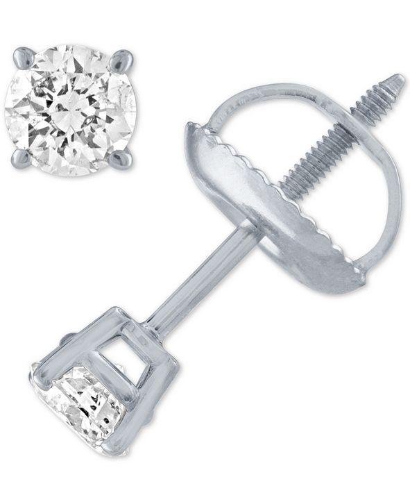 Macy's Diamond Stud Earrings (1/3 ct. t.w.) in 14k White Gold or Yellow Gold