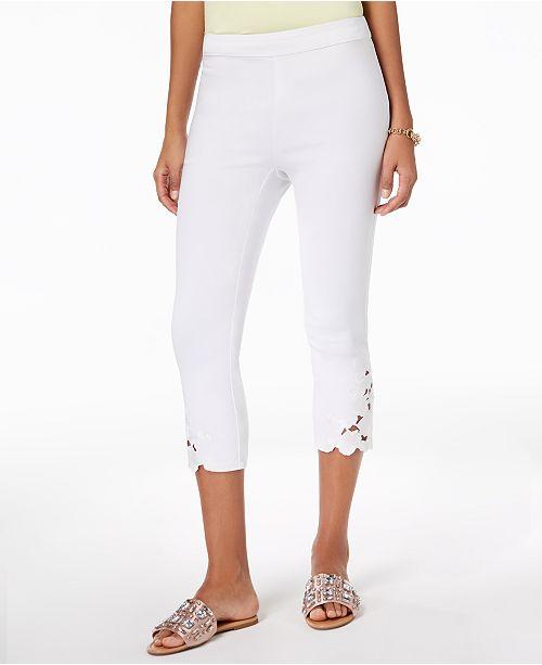 INC International Concepts I.N.C. Petite Lace-Hem Capri Pants, Created for Macy's